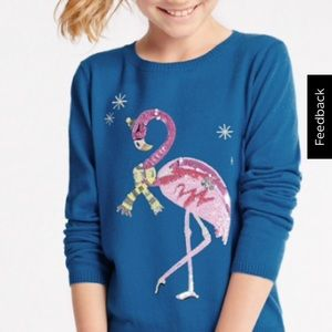 M&S sequin FLAMINGO winter sweater. 7/8
